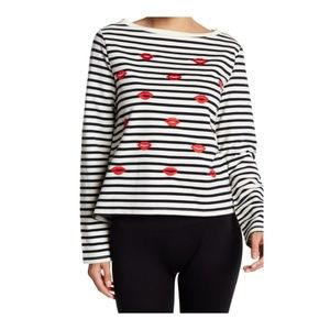 Betsey Johnson Embroidered Kiss Stripe Pullover